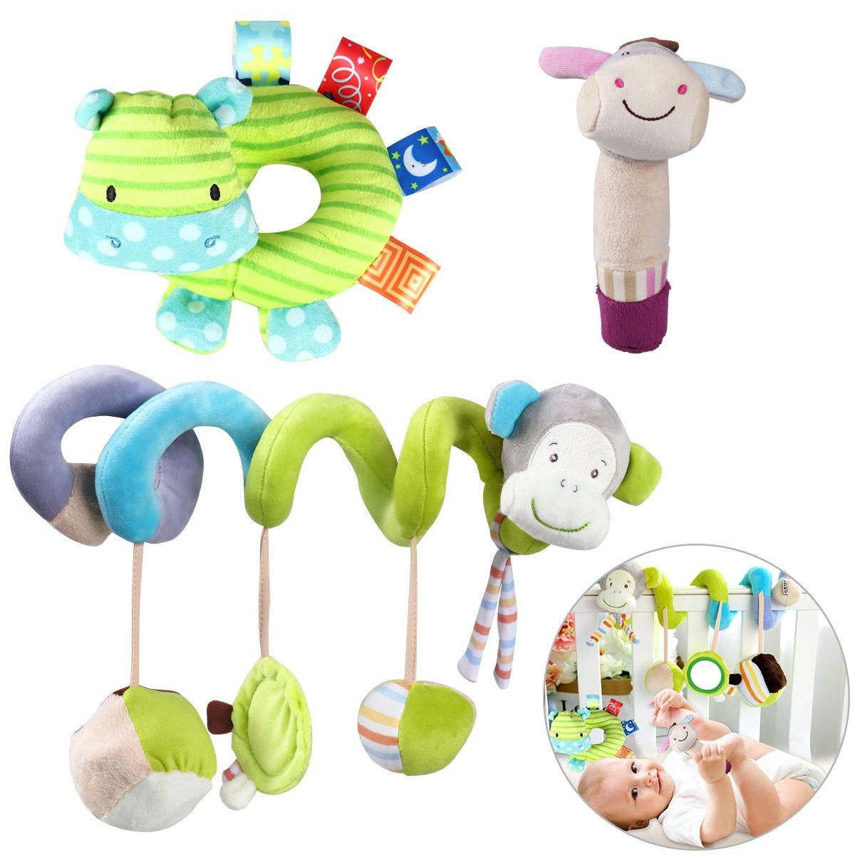 YeahiBaby 3pcs Bébé Jouet Spirale Lit Poussette Hochet Jouets Animales Educatifs en Peluche Hanging Jouets Cadeaux(Singe)