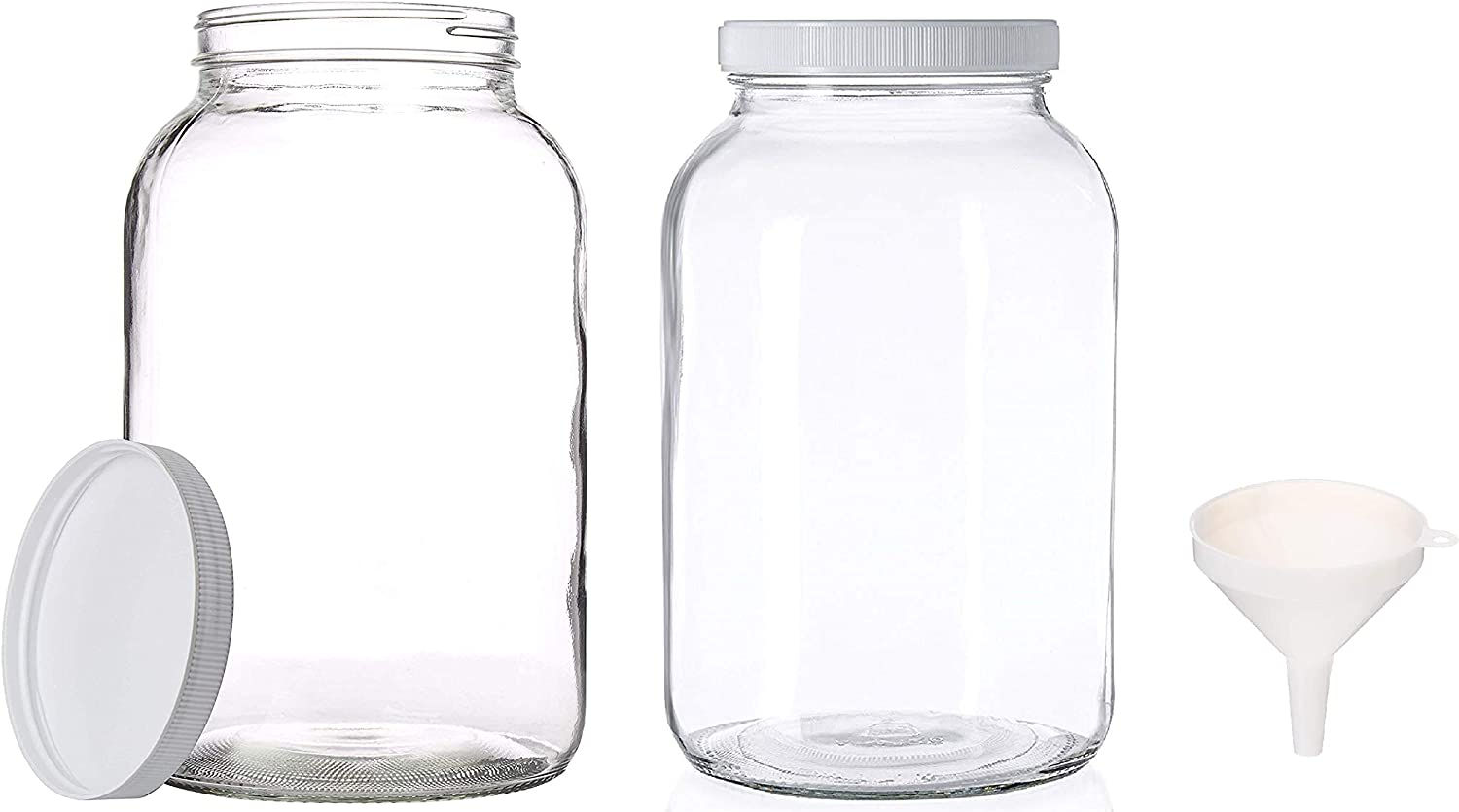 2 Pack - 1 Gallon Glass Mason Jar Brewing and Fermenting Set - Plastic Lids- Wide Mouth Neck with Funnel for Easy Bottling and Pouring - Safe for Kombucha, Kefir and Canning BPA Free By Kitchentoolz