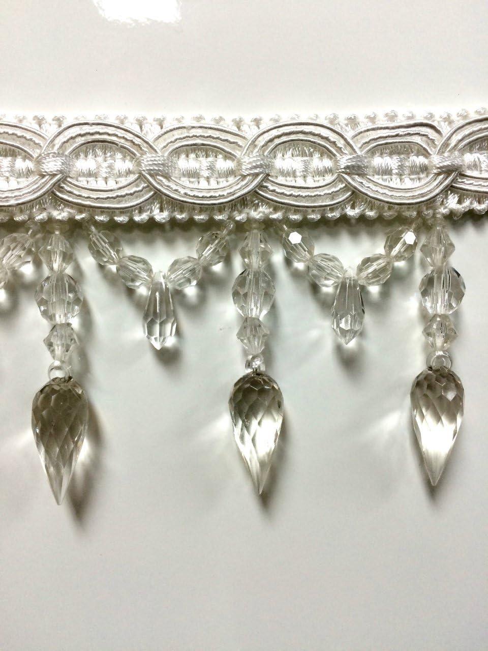 """4/"""" Crystal Beaded Fringe Trim TF-32//40-3-12 Silver Blue Beige /& Antique Gld"""