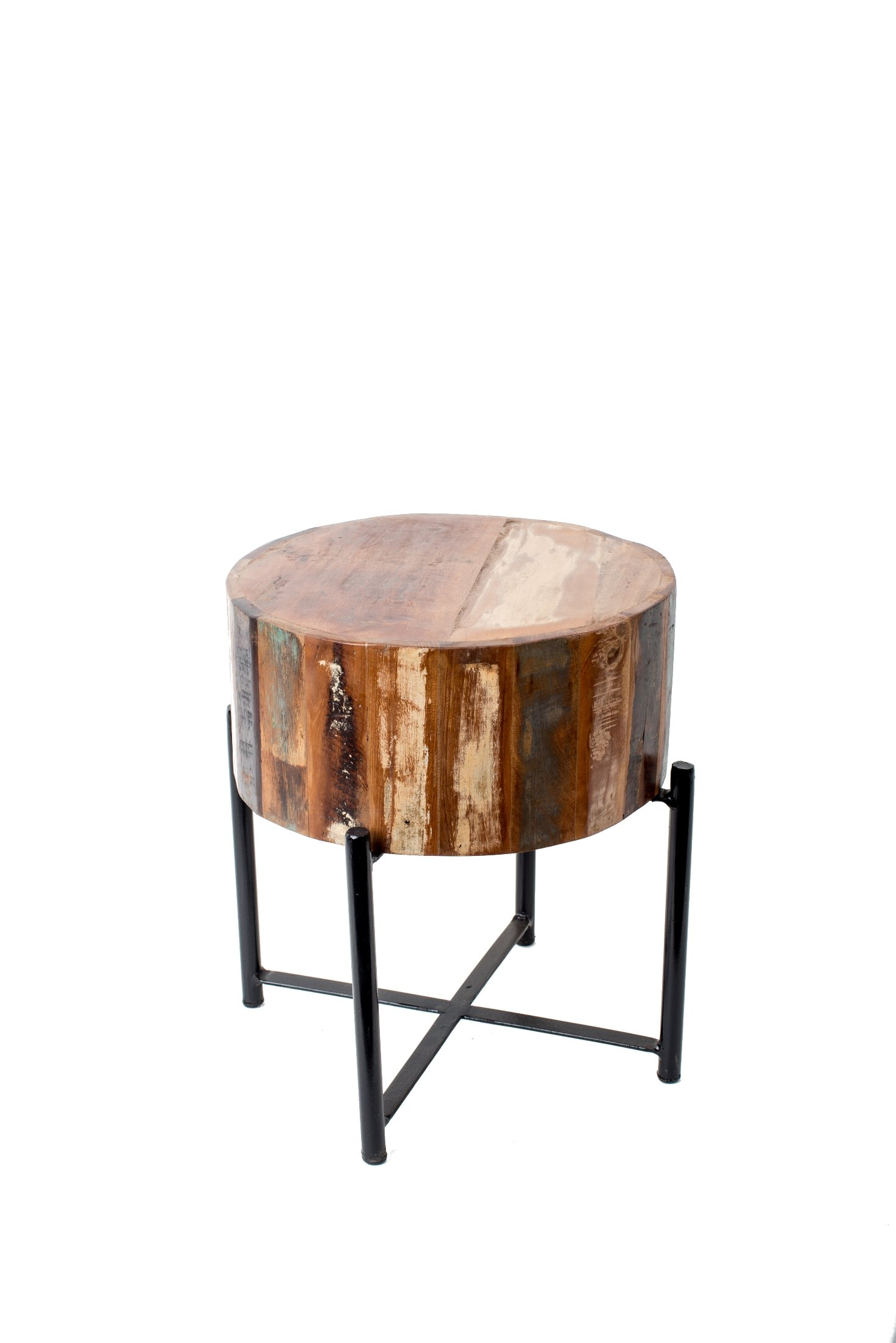 Privilege Wood Plant Stands 15 Inch Diameter Round Reclaimed Wood And Black Metal Stool 16 Inches Tall 16 X 14 X 14 Inches Brown