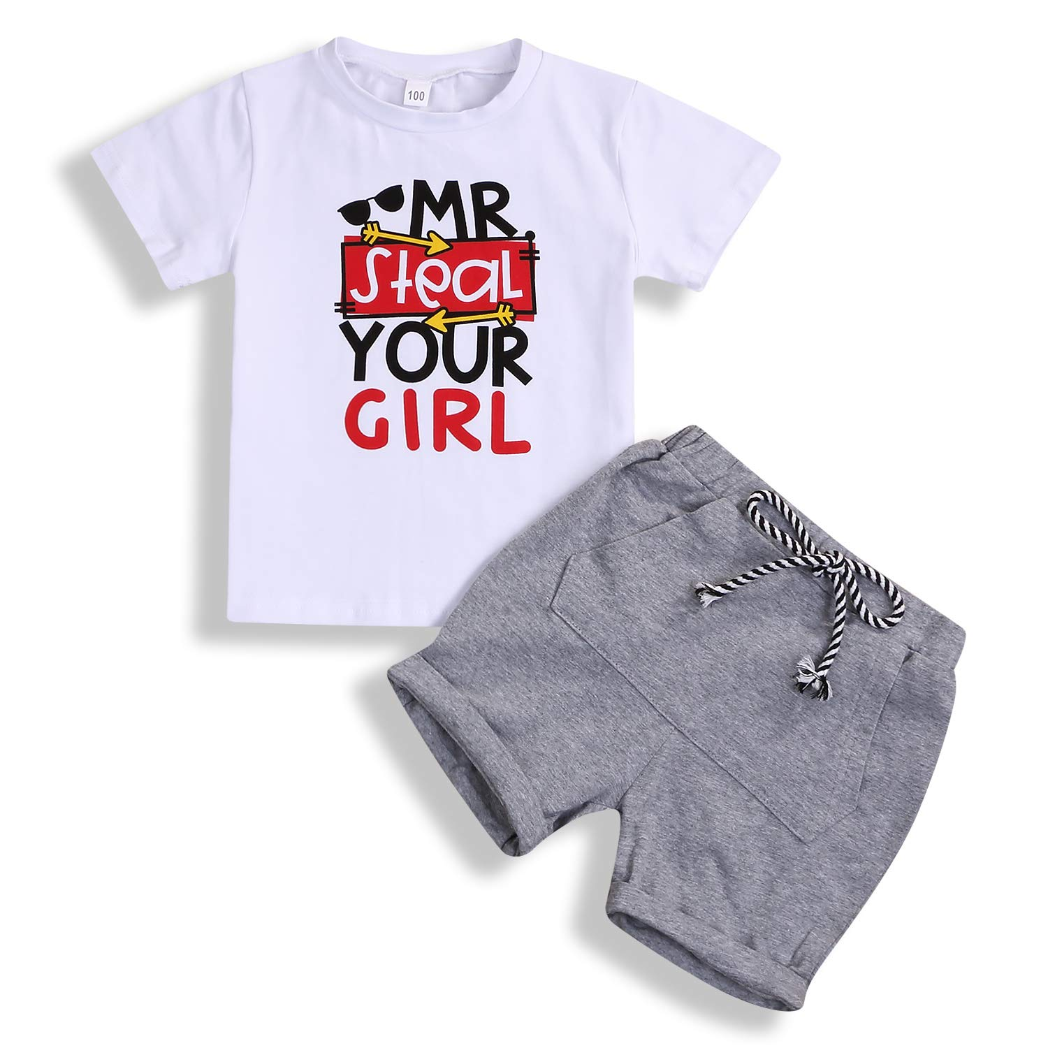 Toddler Baby Boy Summer Outfit Letter Print Shirt Top Shorts Cotton Clothes Set