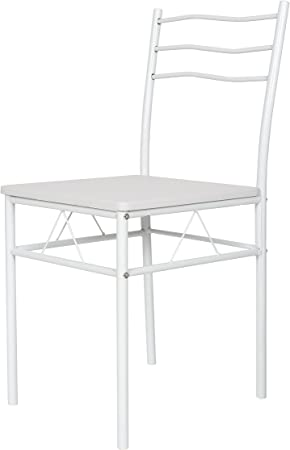 ts ideen Set 3 Pezzi Tavolo 60x60 cm con 2 sedie in Alluminio e MDF Color Bianco per Cucina o Sala da Pranzo