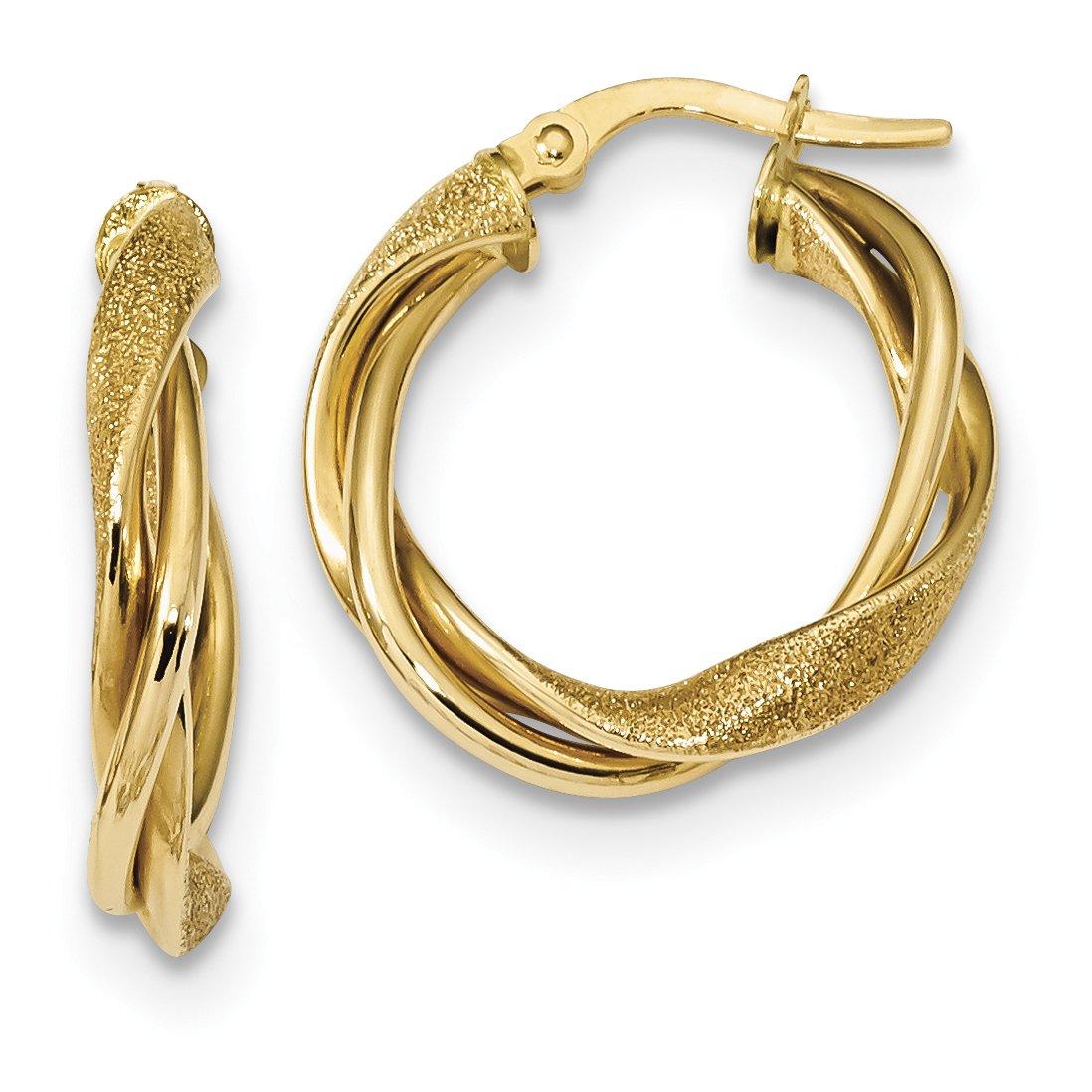 ICE CARATS 14k Yellow Gold Textured Twisted Hoop Earrings Ear Hoops Set Fine Jewelry Gift Set For Women Heart
