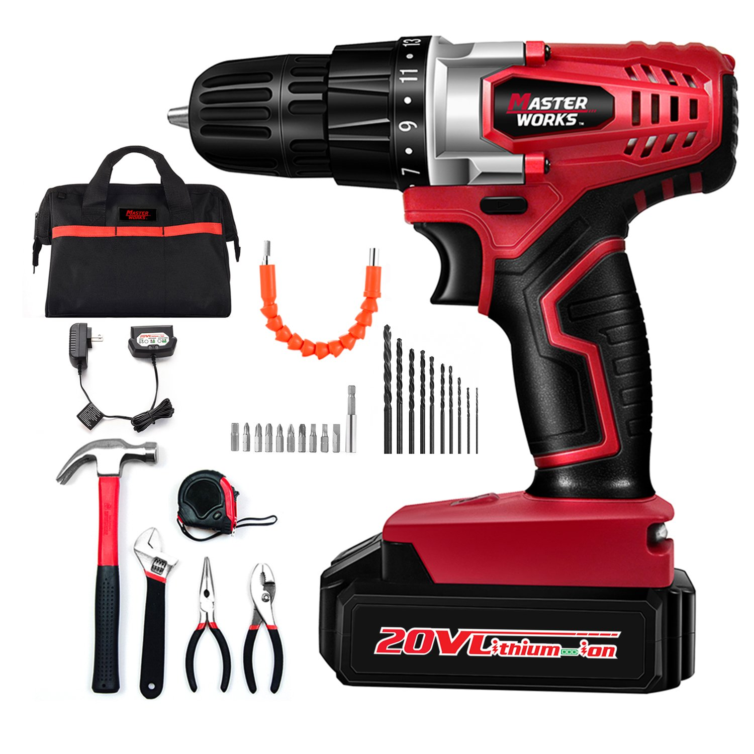 """Cordless Drill, 20V Lithium-Ion Electric Drill Driver Kit with 5-Pieces Household Hand Tool Set & 22pcs Accessories, 3/8"""" Keyless Chuck, Variable Speed, 15+1 Position, LED Light, Masterworks MW316-KT"""