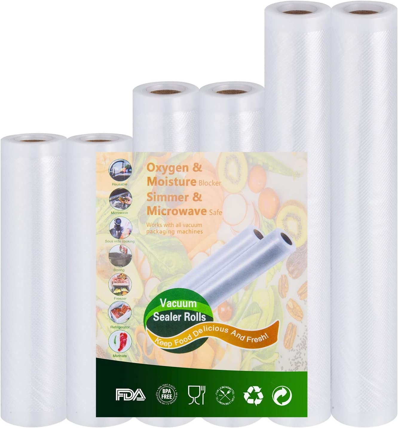 "Vacuum-Sealer Rolls Food-Storage Bags for Food-Saver - 2 rolls 6""x10' and 2 rolls 8""x10' and 2 rolls 11""x10' Sous Vide cooking, Mircowave & Freezer Food Storage"