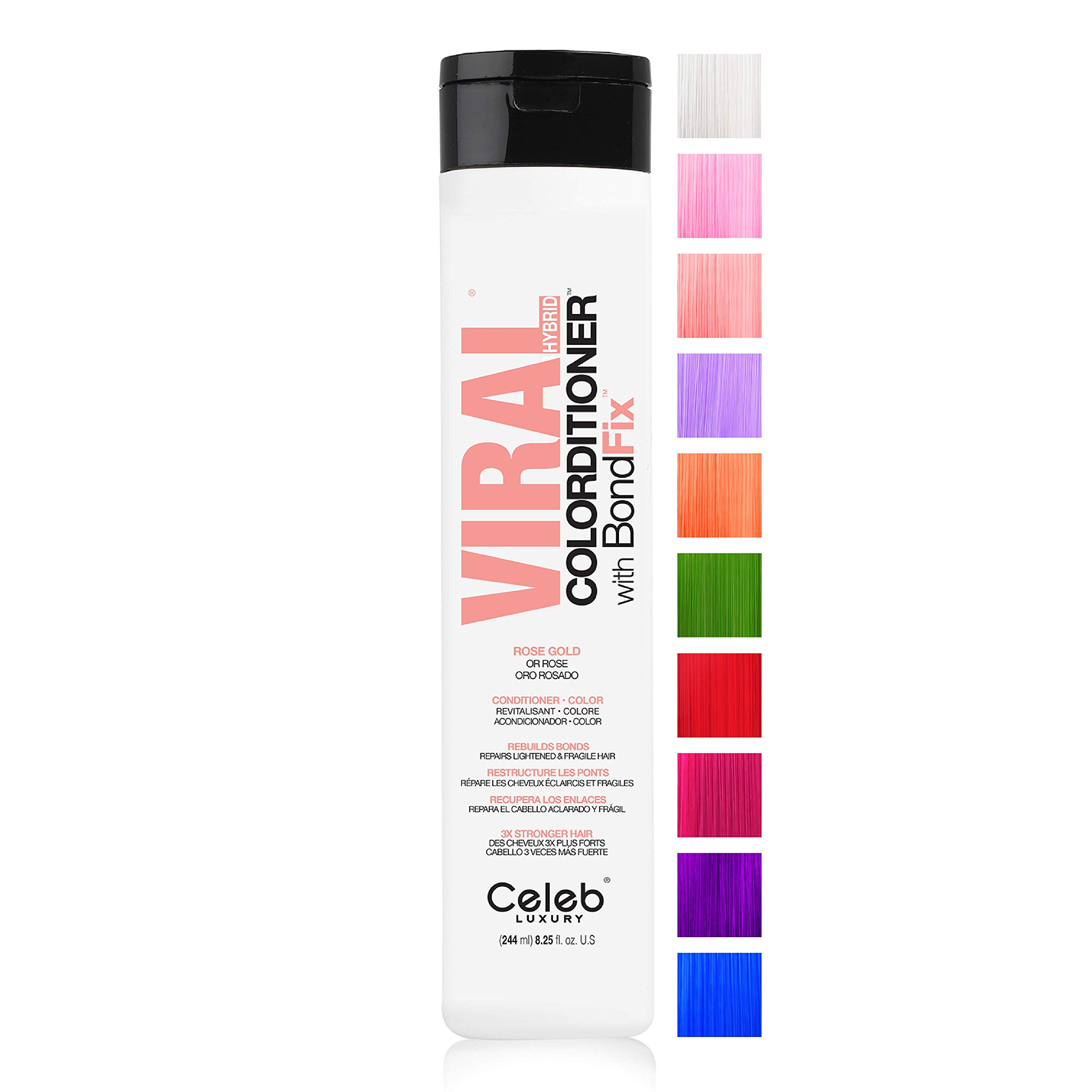 Celeb Luxury Viral Color Depositing Colorwash Shampoo or Colorditioner Conditioner + BondFix Bond Rebuilder, Clean Beauty Hair Color, Plant-Based, Vegan, Semi-Permanent Pastel Colors