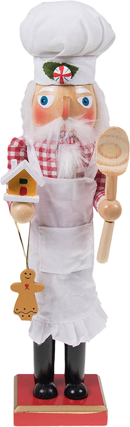 "Clever Creations Traditional Wooden Chef Santa Claus Christmas Nutcracker Apron and Chef Hat | Festive Holiday Décor | Holding Baking Spoon, Gingerbread Man, & House | 100% Wood | 15"" Ta"