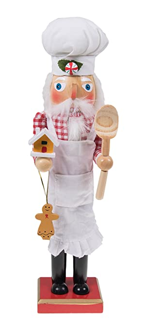 Weihnachtsdeko Lebkuchenmann.Clever Creations Traditioneller Nussknacker Weihnachtsmann In Kochkleidung Mit Schürze Kochmütze Kochlöffel Lebkuchenmann Und Haus