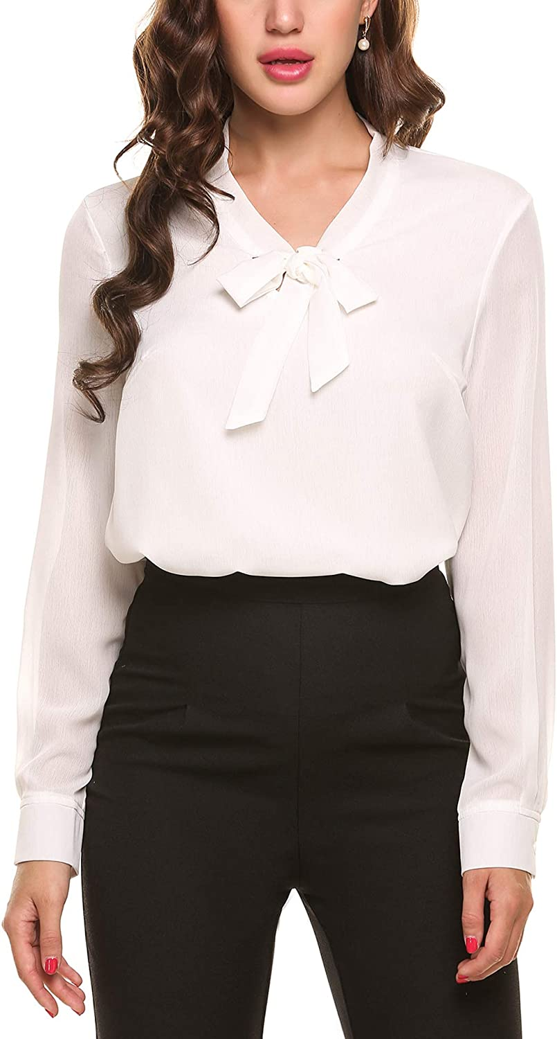 ACEVOG Womens Bow Tie Neck Long/Short Sleeve Casual Office Work Chiffon Blouse Shirts Tops: Clothing