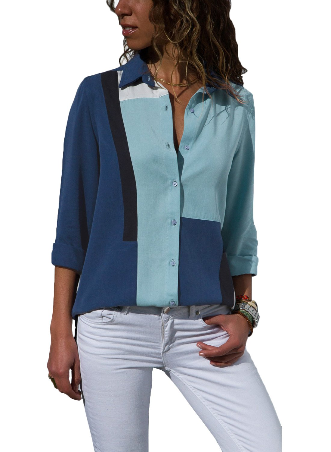 Astylish Women Loose Fit Long Sleeve Collared Color Block Tunic Blouse Tops Shirts Medium 8 10 Navy Blue