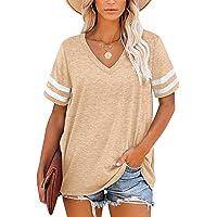 MOLERANI T-Shirts Magliette estive da Donna con scollo a V Manica a Righe