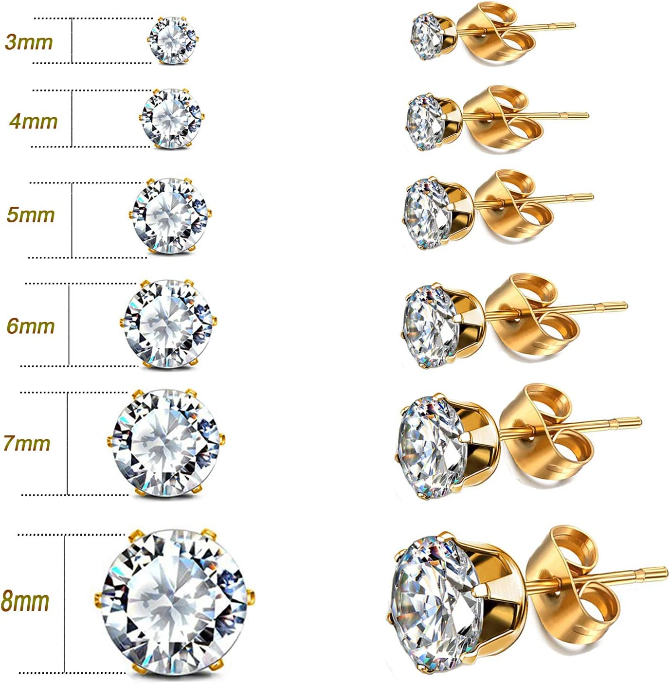 Studs Earrings 7MM Gold Stainless Steel