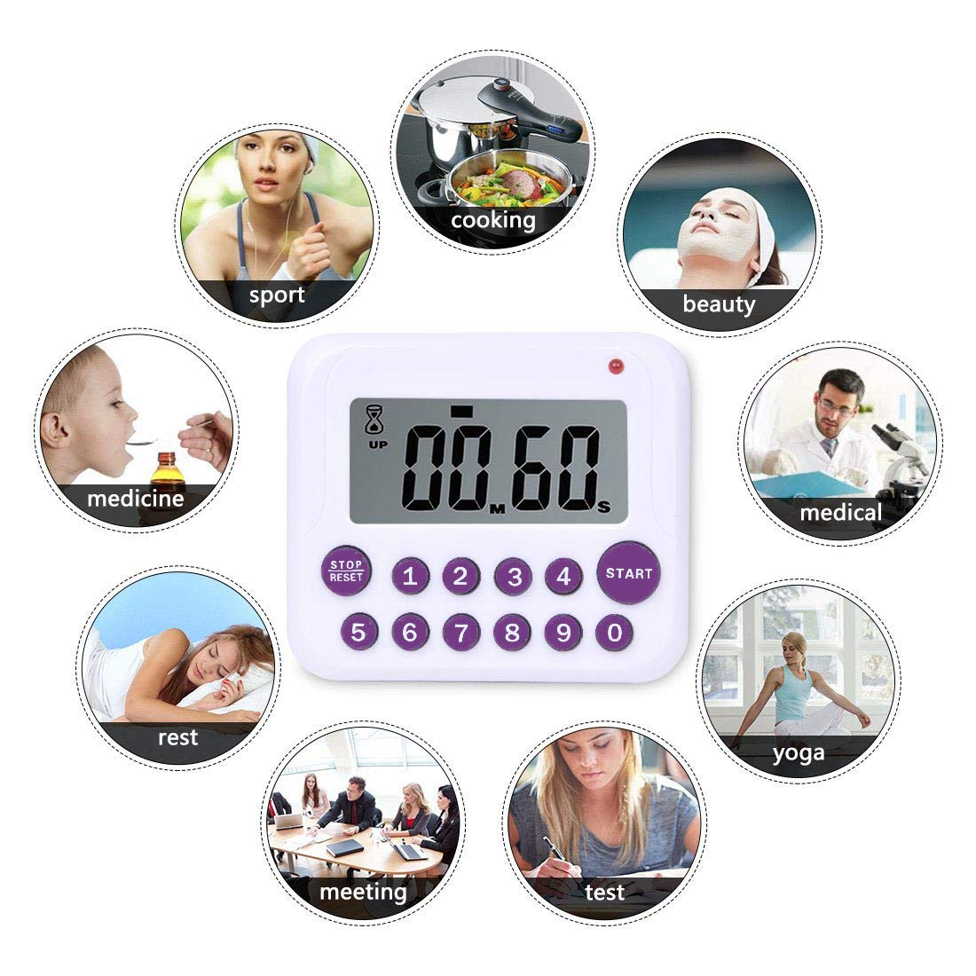 TuoPulife Simultaneous Cooking Timing Countdown Up Pocket Timer Digital Kitchen Timer Memory Stopwatch Function 2 Pack Battery included Magnetic Back Large Led Display Loud Alarm