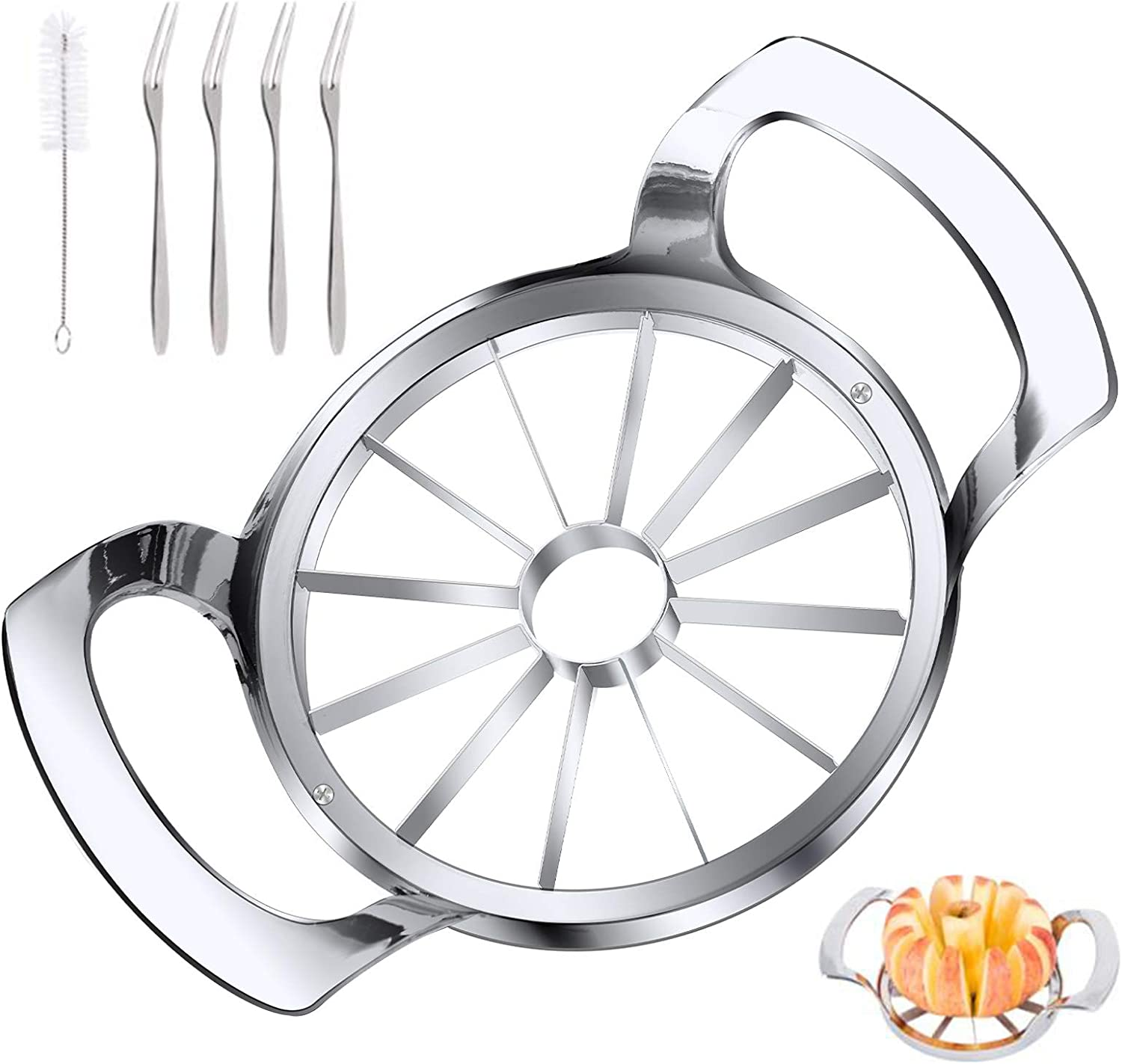 LIIGEMI Apple Slicer Upgraded Version 12-Blade Extra Large Apple Corer, Stainless Steel Ultra-Sharp Apple Cutter, Pitter, Divider Up to 4 Inches Apples / Four Fruit Forks set