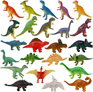 PUSHEVD Dinosaur Toys for Boys and Girls 3 Years Old & Up - Educational Realistic Looking Dinosaurs, Pack of 24 Animal Dinosaur Figures