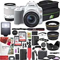 Canon EOS Rebel SL3 DSLR 24.1MP 4K Camera with EF-S 18-55mm f/3.5-5.6 is STM Lens (White) and Double Battery Two (2) 16GB SDHC Memory Cards Plus Flash Remote Filter Set Cleaning Kit Accessory Bundle