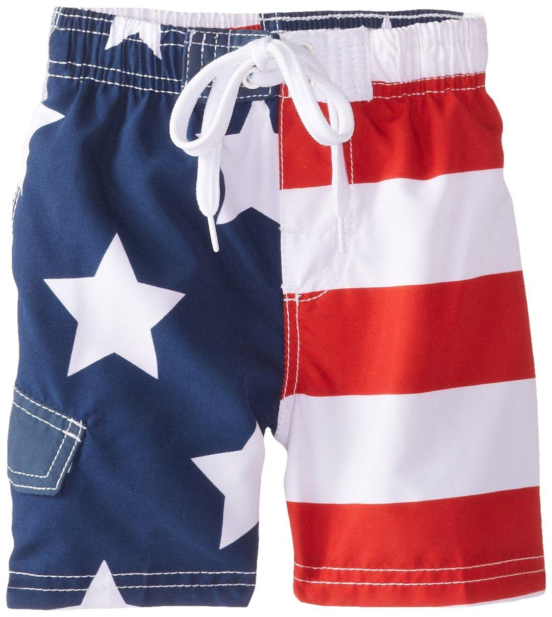 Kanu Surf Little Boys' Toddler American Flag Swim Trunks, Flag, 2T