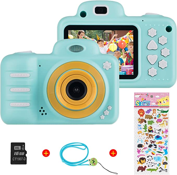 Vannico Children S Digital Mini Camera Selfie Photo Kids Camera Hd 8 Megapixels Rechargeable Action Cameras Camcorder For Girls Boys With 16g Sd Card Blue Elektronik