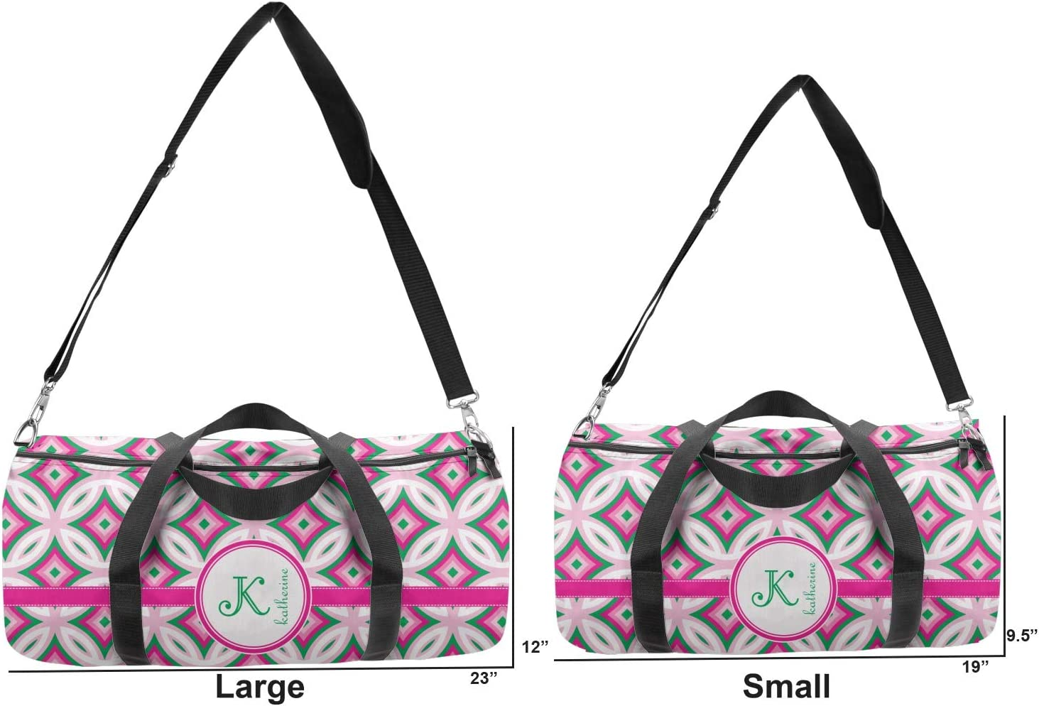 Personalized YouCustomizeIt Linked Circles /& Diamonds Duffel Bag