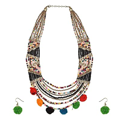467d76e58 Buy muccasacra Multicolor Beads Cotton Necklace Set For Girls Online at Low  Prices in India | Amazon Jewellery Store - Amazon.in