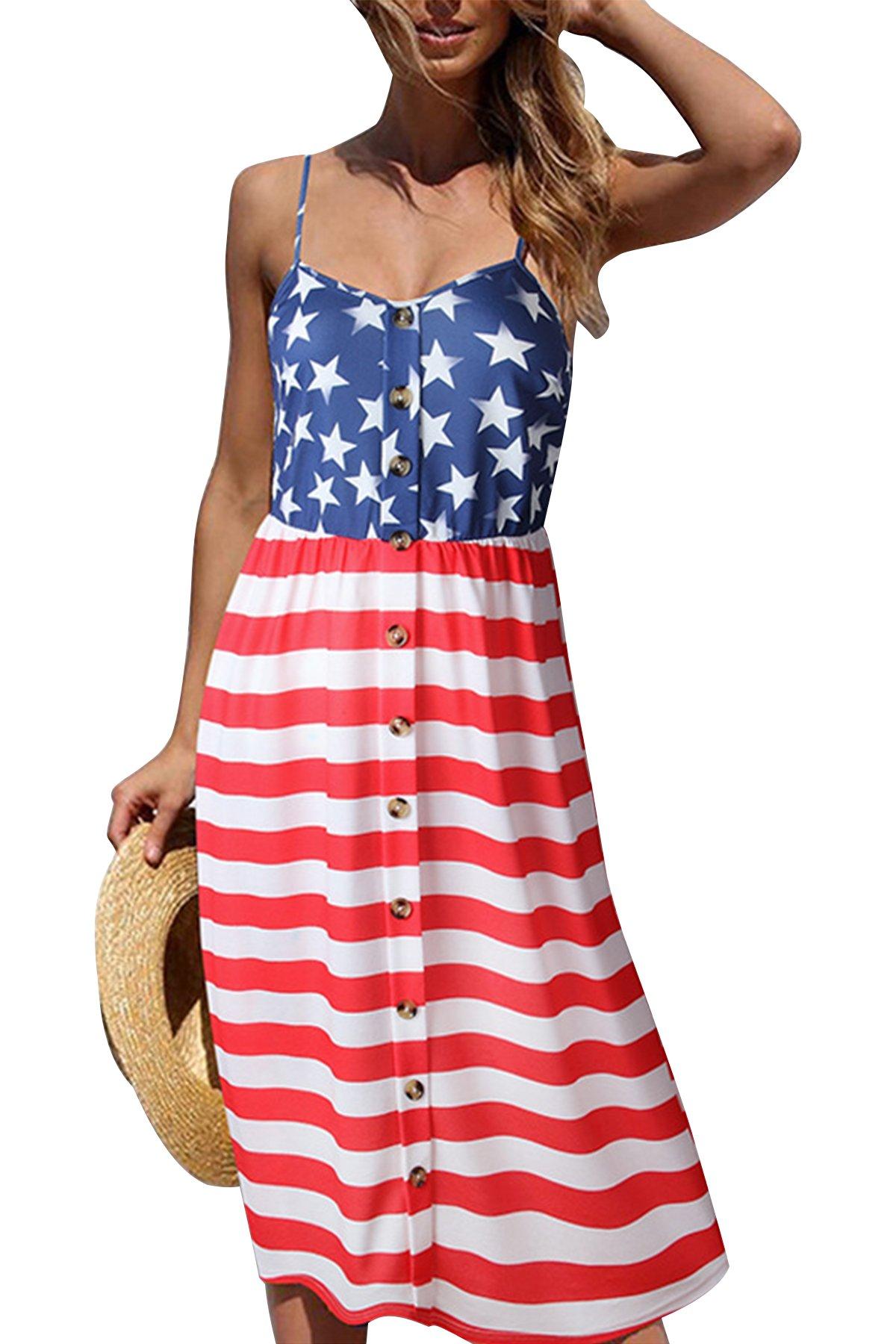 JOXJOZ Women's Summer V-Neck Spaghetti Strap Button Down Swing Midi Party Dress (S)