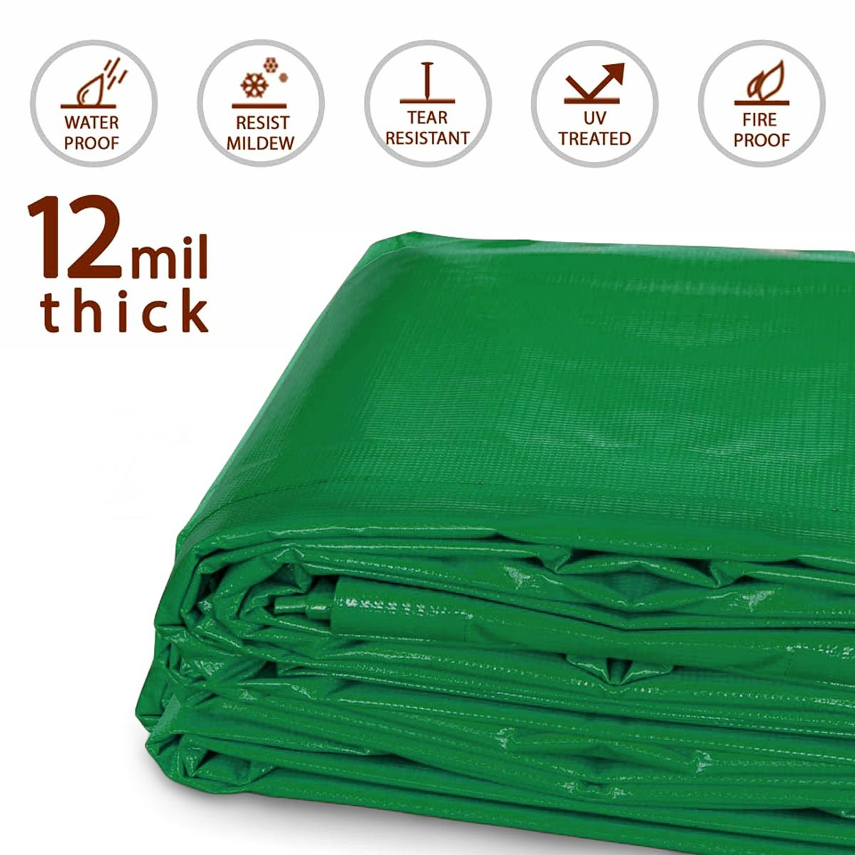 20-Foot by 40-Foot Multi-Purpose 100% Waterproof Red Heavy Duty PVC Vinyl Tarp Cover 12 Mil Thickness for Inflatables, Tents, and Weather Protection