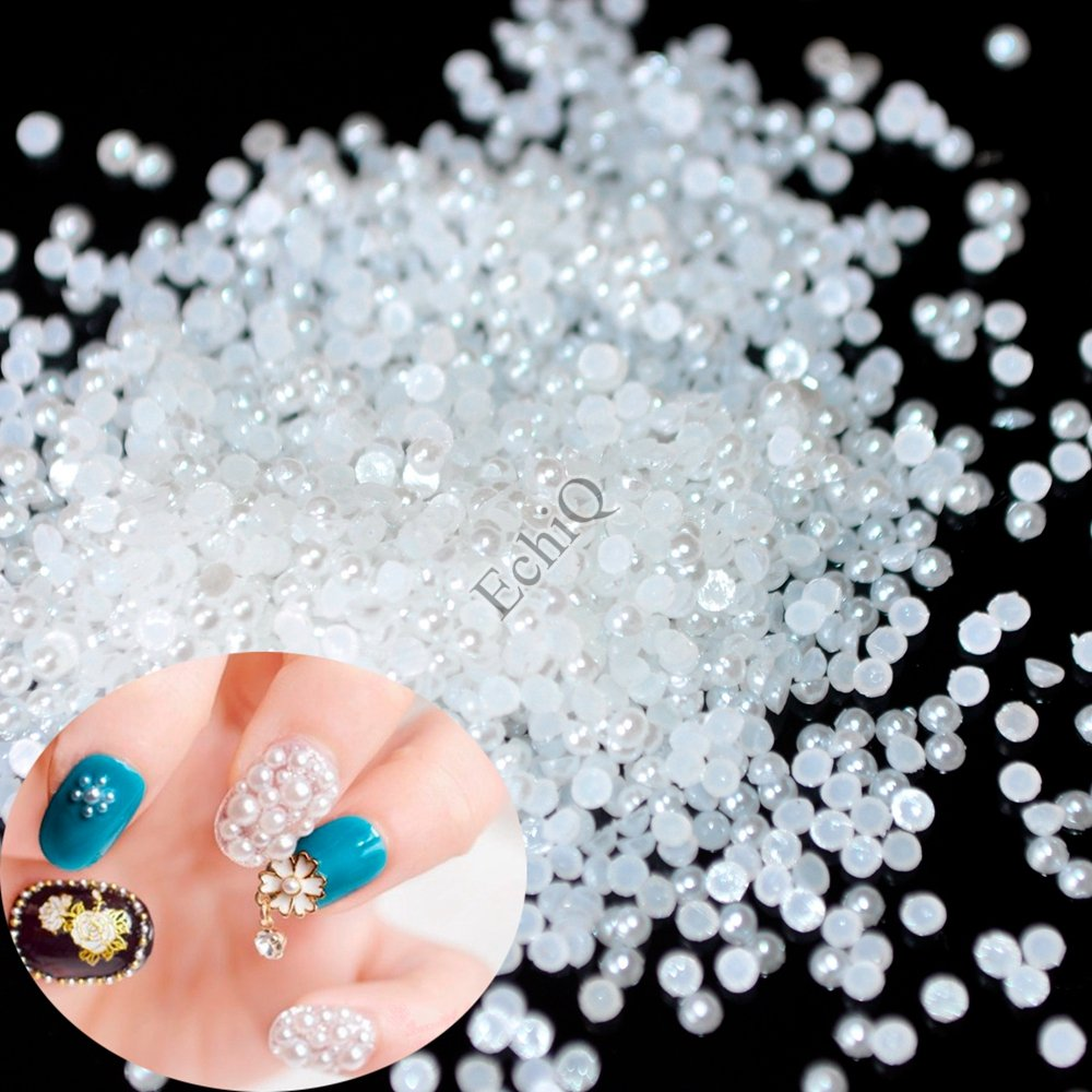 1000pcs SS4 3D Fashion White Nail Art Tips Pearl Acrylic Small Pure white Gems Beads Manicure DIY Decoration 1.5mm EchiQ