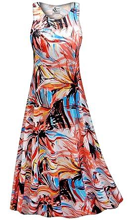 e81ccc86467 Metallic Floral Abstract Slinky Print Plus Size Sleeveless A-Line Maxi  Dress LGP