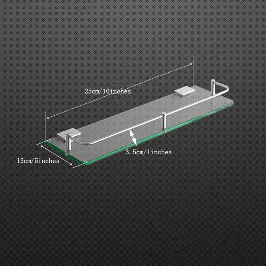 YXN Space Aluminum Bathroom Shelf Glass Shelf Bathroom Square Single Layer Metal Pendant Corner Dresser (Size : 25cm)