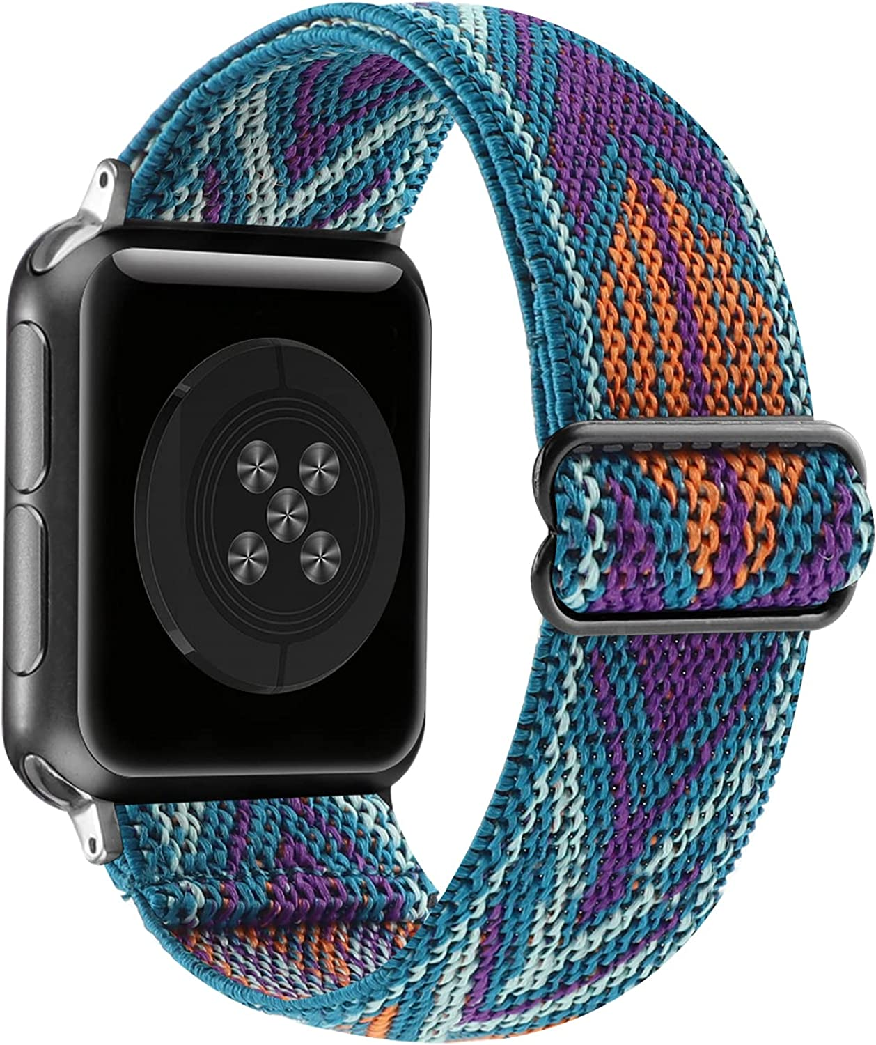 Adjustable Stretchy Solo Loop Nylon Strap Compatible with Apple Watch Elastic Band 38mm 40mm 42mm 44mm iWatch Series SE/6/5/4/3/2/1