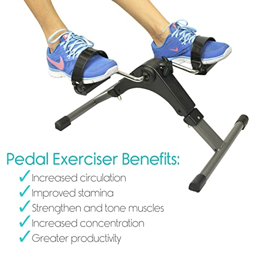 Portable Pedal Exerciser by Vive - Arm & Leg Exercise Peddler Machine - Low Impact Desk Cycle - Fitness Equipment for Seniors and Elderly - Folding Exercise Bike