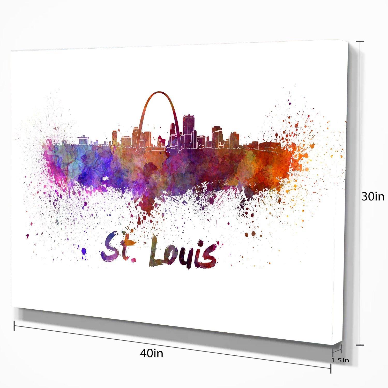 Designart PT6588-60-28 St Louis Skyline Cityscape Canvas Artwork Print 60x28