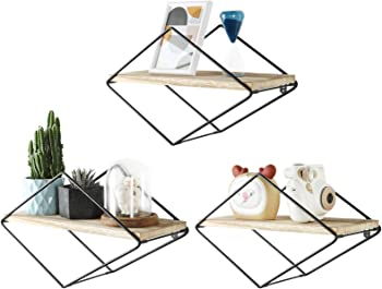 Set of 3 Sueh Design Geometric Floating Shelves