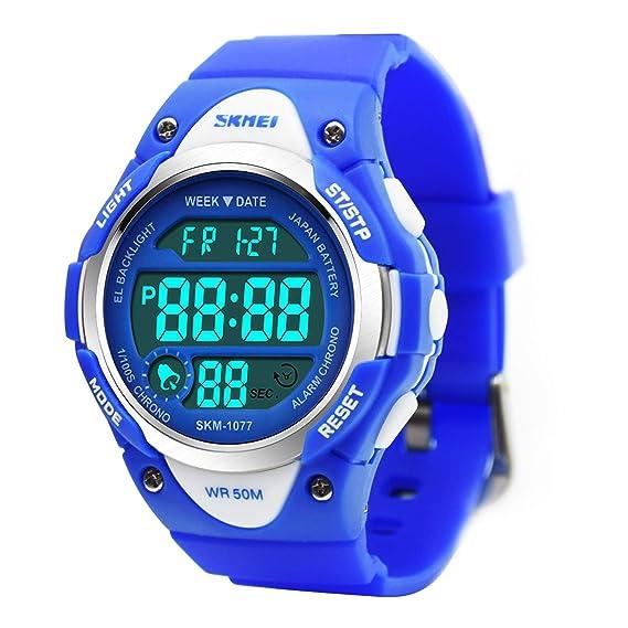 Reloj deportivo digital para niños, resistente al agua, electrónico, analógico, con alarma