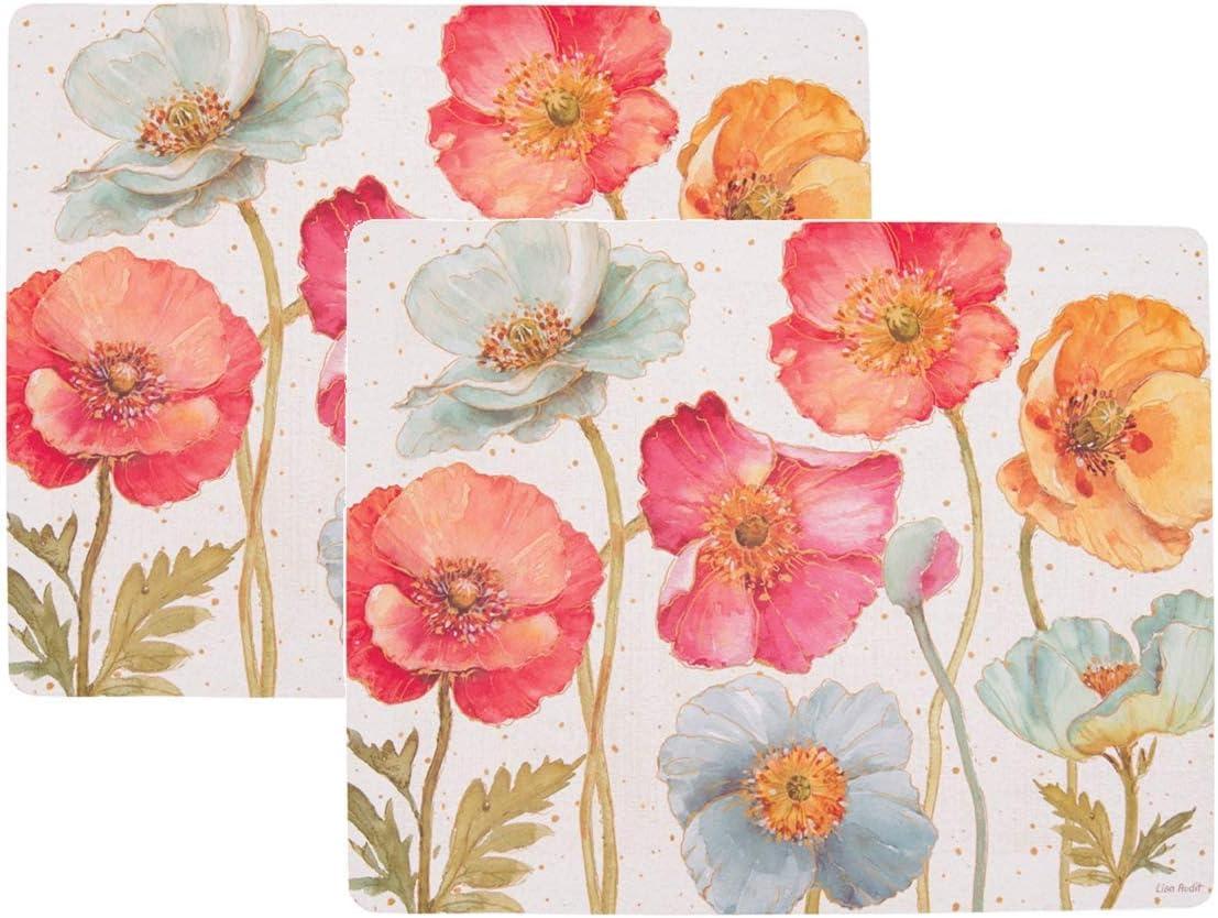 C&F 46013014 2 Hardboard Placemats with Cork Back Spring Floral