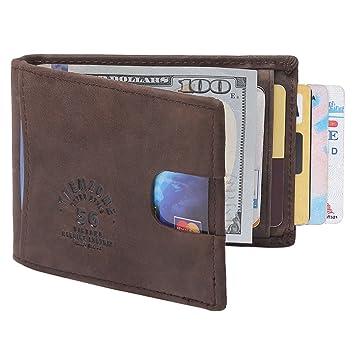 4b1bd1ac148 Teemzone RFID Tarjertero Cartera Hombre Billetero Piel Clip de Dinero  Proteger la Privacidad Personal (CafšŠ)  Amazon.es  Equipaje