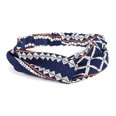 style à la mode tout neuf acheter de nouveaux Bandeau Turban Bleu marine Motif Ethnique - Bandeau Cheveux ...
