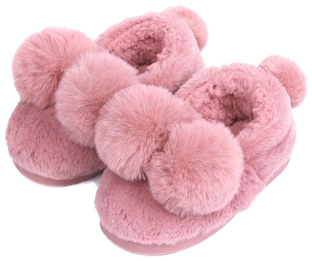 UIESUN Unisex Cute Ball Little Kid Shoes Slippers Boy Girl Winter Soft Bedroom Indoor House Shoes Purple-22