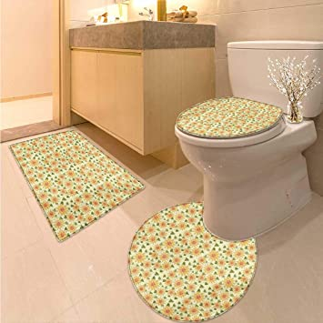 Amazoncom Anhuthree Sunflower Bathroom And Toilet Mat Set Floral