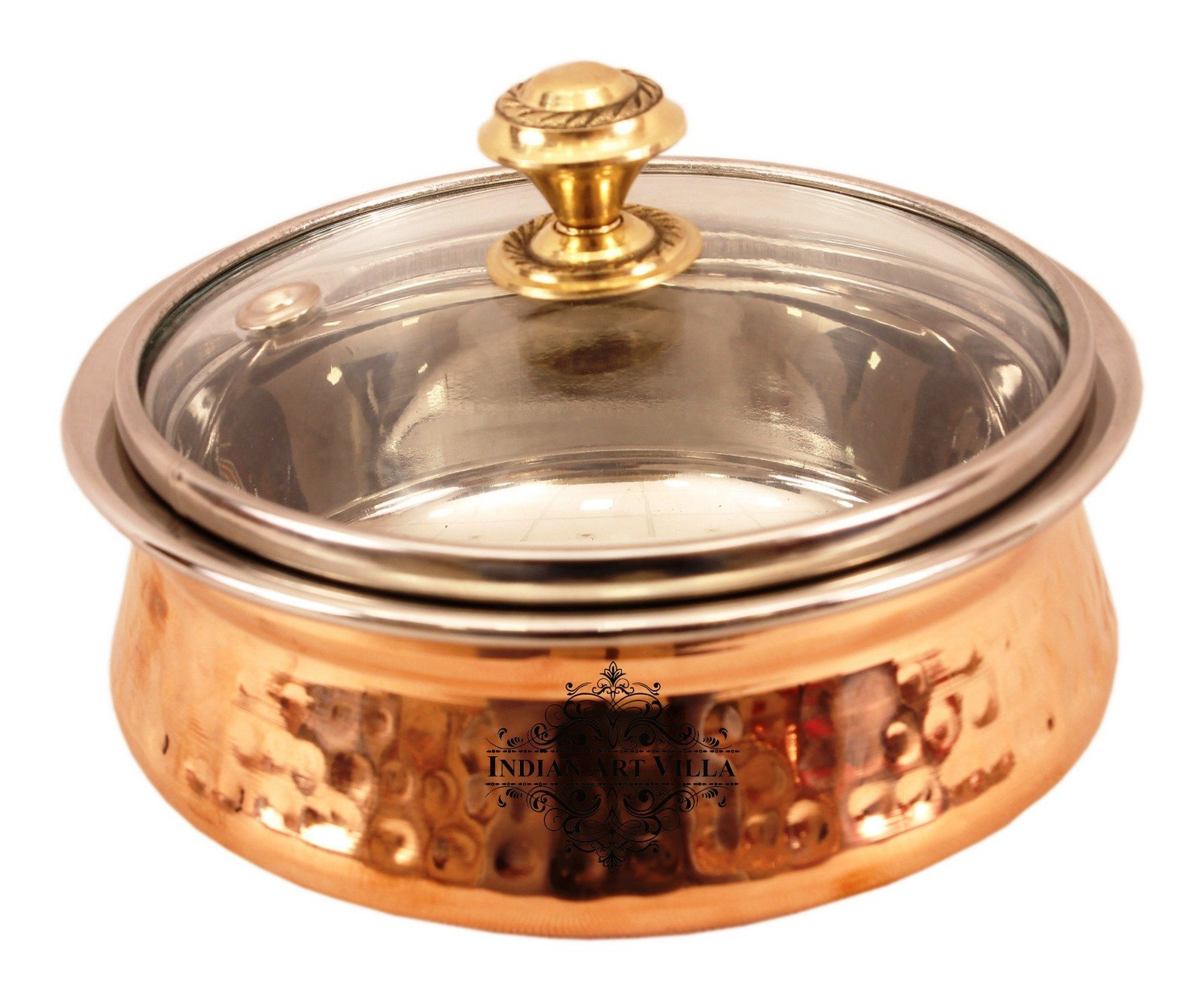 IndianArtVilla Hammered Steel Copper Handi Bowl with Glass Lid & Brass Knob, Serveware, 14 OZ