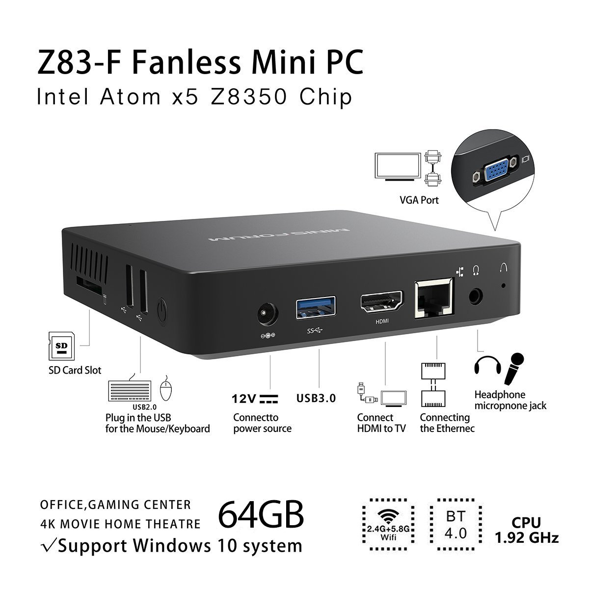 Mini PC con doppia uscita video Ram 4GB eMMC 64GB