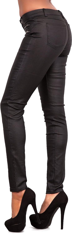 Crazy Lover Pantaloni lunghi in ecopelle in pregiata pelle sintetica in poliuretano Pantaloni a vita bassa elasticizzati in pantaloni leggings effetto bagnato Treggins
