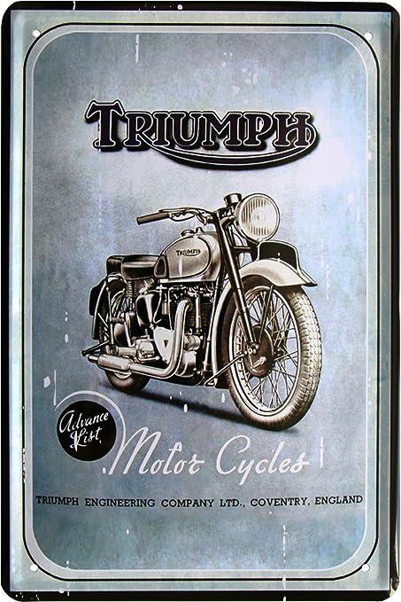 Triumph Motorcycles Moto Oldtimer Bike 20 x 30 cm cartel de chapa 364