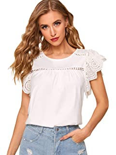 DIDK Womens Ruffle Short Sleeve Solid Eyelet Embroidery Boho Top Blouse