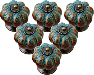 IEIK Cabinet Knobs 6 Pack Glazed Ceramic Knobs with Pumpkin Shape for Decor Door Pull Handle for Vintage Cabinet Drawers, Closets, Cupboard (Blue)