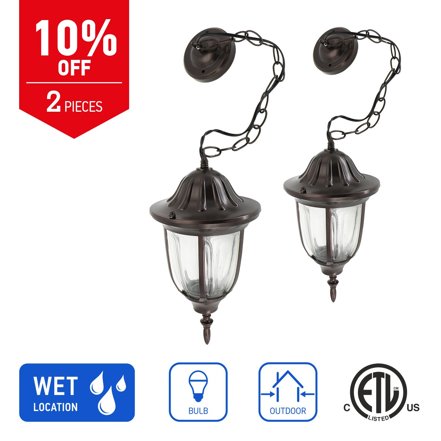 in Home 1-Light Outdoor Pendant Lantern L03 Series Traditional Design Bronze Finish Clear Glass Shade (2 Pack), ETL Listed
