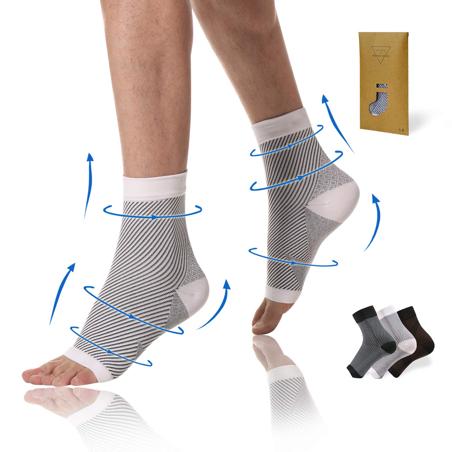 Plantar Fasciitis Compression Socks Increase Blood Circulation Relieve Foot Arch Pain 20-30 mmHg Foot Sleeves Ankle Sleeve for Ankle//Heel Support Reduce Foot Swelling 3 Pairs,6-10