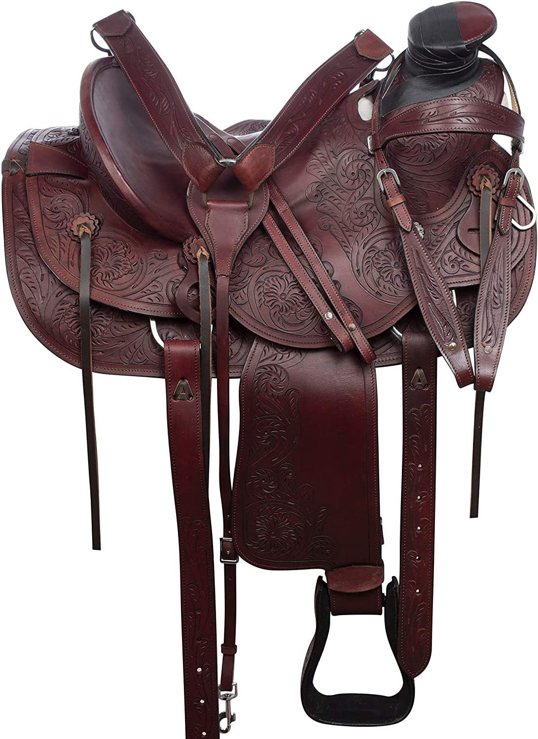 Deen, Enterprises, Wade Tree A Fork - Sillín de cuero occidental de trabajo con cuerdas, tamaño de 35,56 a 45,72 cm, asiento disponible