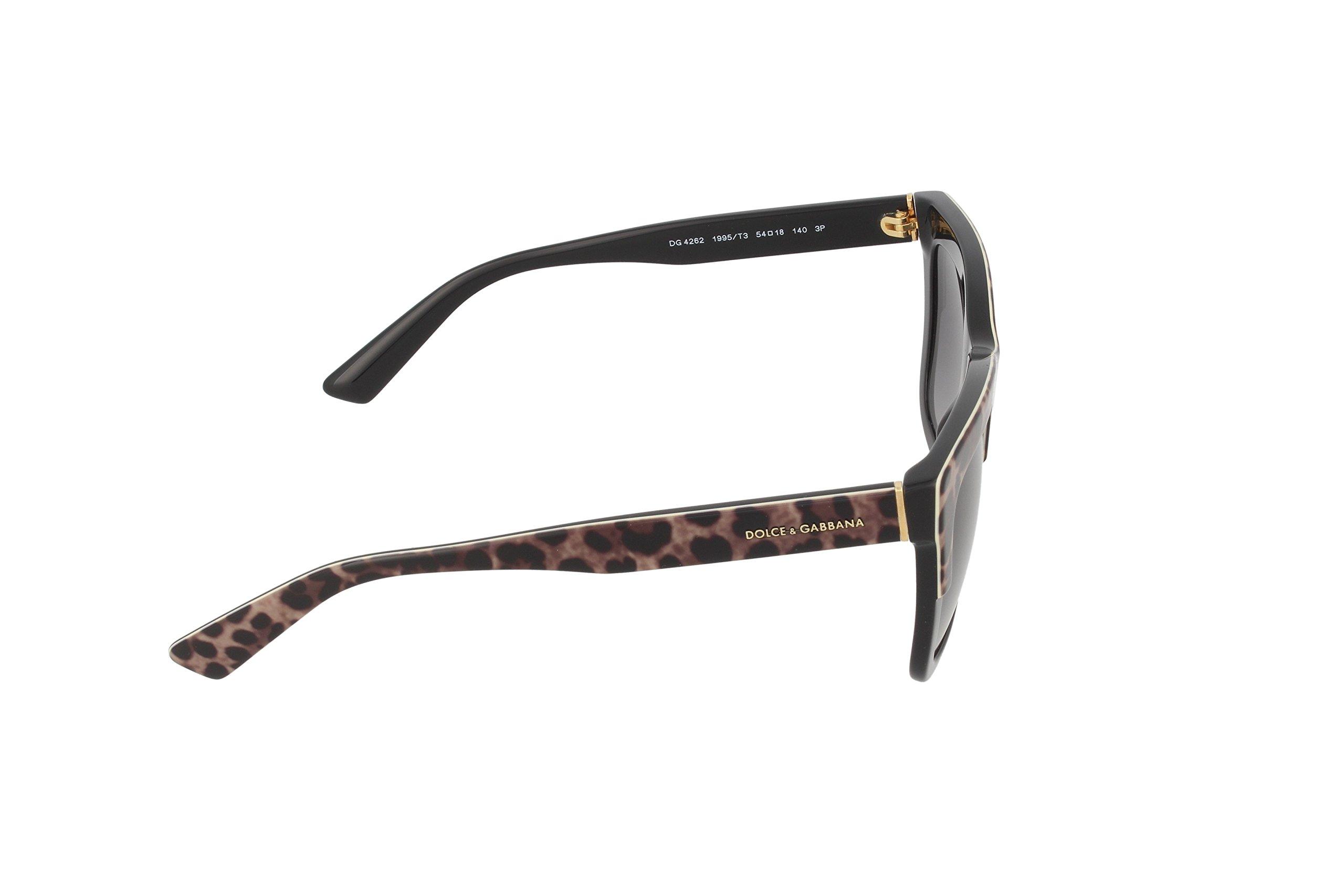D&G Dolce & Gabbana Womens 0DG4262 Polarized Square Sunglasses, Top Leo On Black, 54 mm by Dolce & Gabbana (Image #3)
