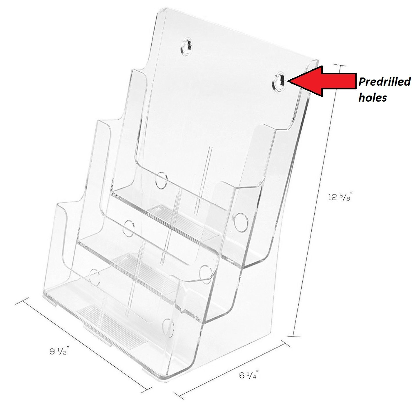 1InTheOffice Large 3 Tier Magazine Display, magazine Organizer, Wall Mount or Counter Top Use Clear Acrylic